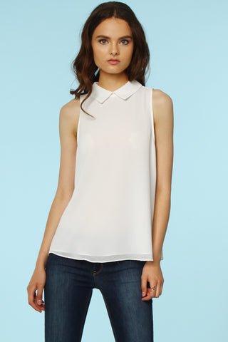 Betty Draper tank in White - Downtown Chic Online