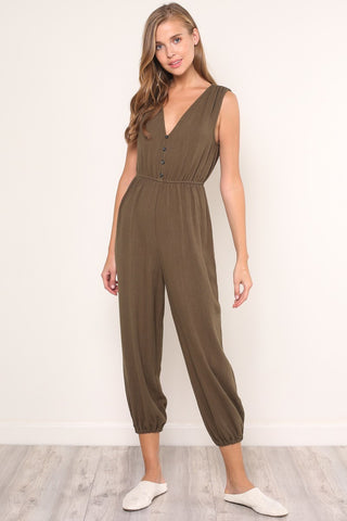 Out of Office jumpsuit in Olive - Downtown Chic Online