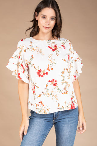 Wild Flower blouse in Off White - Downtown Chic Online