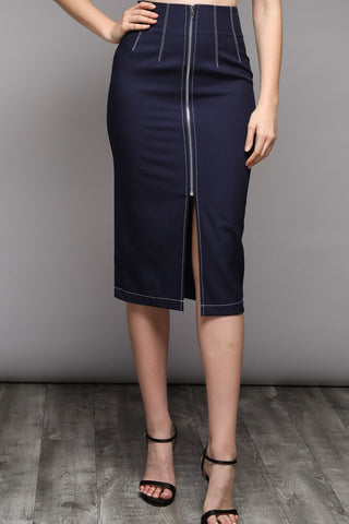 Plan B pencil skirt in navy - Downtown Chic Online