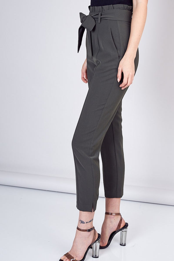 All Tied Up High Waist Trouser in Olive - Downtown Chic Online