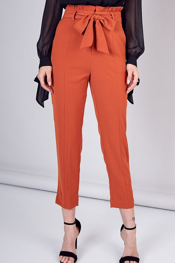 All Tied Up High Waist Trouser in Toffee - Downtown Chic Online