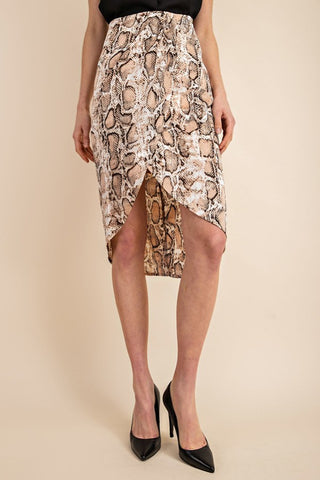 Hiss and Tell skirt in Snake Print - Downtown Chic Online