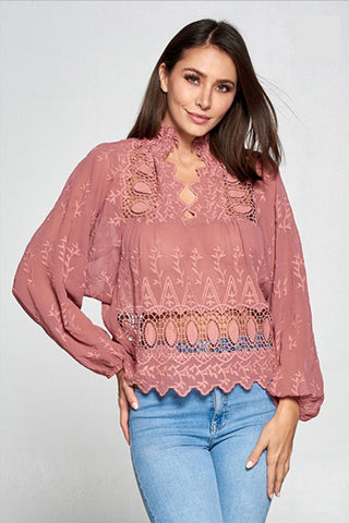 Unwind Top in Mauve - Downtown Chic Online