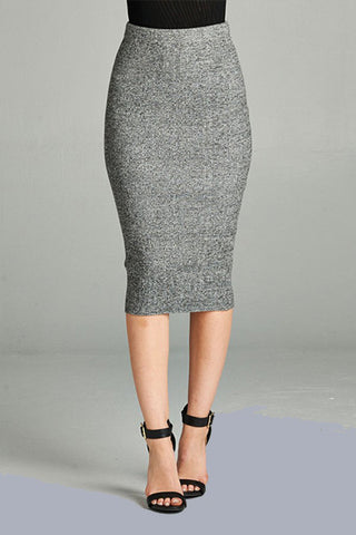 Marled Rib Midi Skirt - Downtown Chic Online