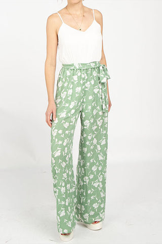 Spring it On Floral Jumpsuit in Moss - Downtown Chic Online