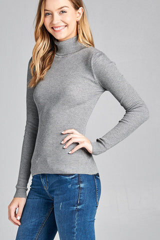 Running Late Turtle Neck in Heather Grey - Downtown Chic Online