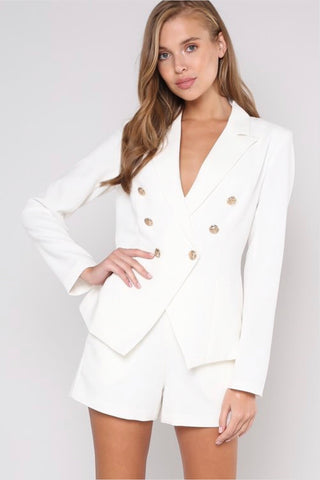 Sergeant Girl Boss blazer in white - Downtown Chic Online