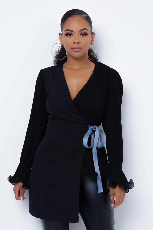 Not Basic Blouse in Black - Downtown Chic Online