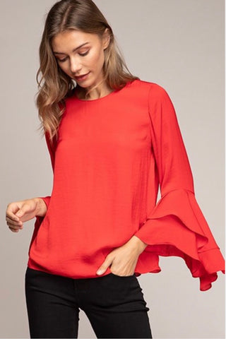 Merger Top in Red - Downtown Chic Online