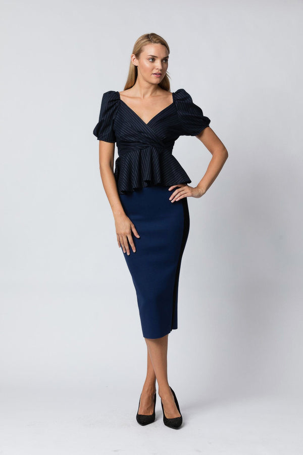 Business First Pencil Skirt in Navy - Downtown Chic Online