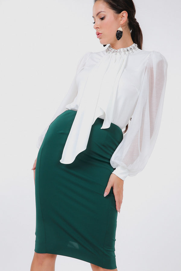 Zip It Pencil Skirt in Forest Green - Downtown Chic Online