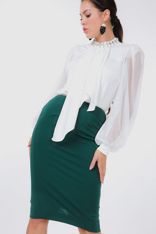 Zip It Pencil Skirt in Forest Green