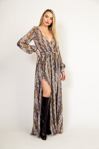 Whimsical Maxi dress in snake skin print - Downtown Chic Online