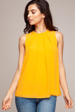 On the Edge top in marigold - Downtown Chic Online
