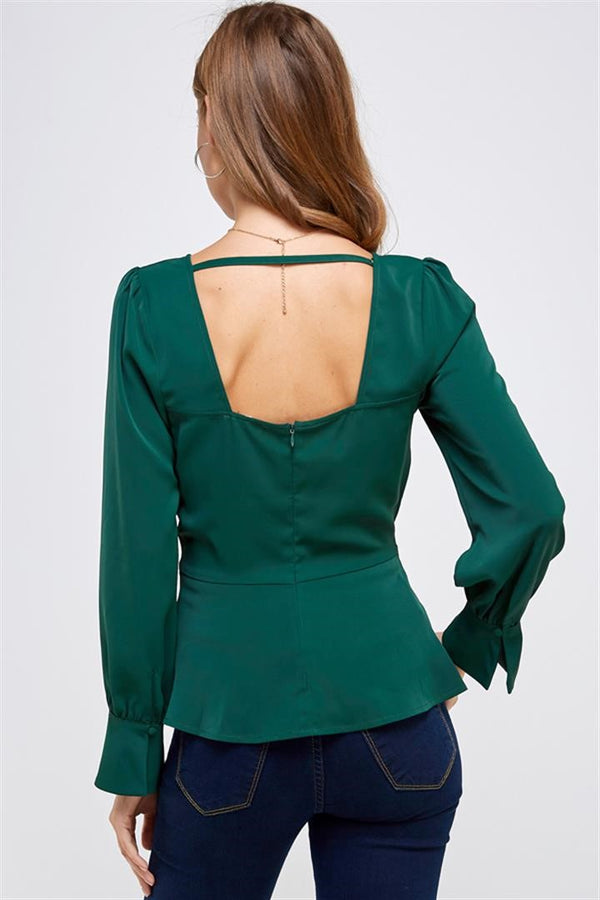 Money Bags top in hunter green - Downtown Chic Online