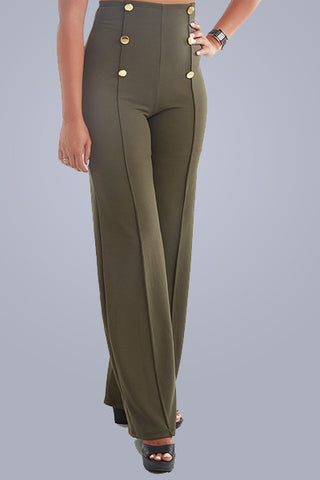Military High Waist Pant Green - Downtown Chic Online