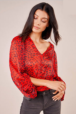 Wild Ways top Leopard Red