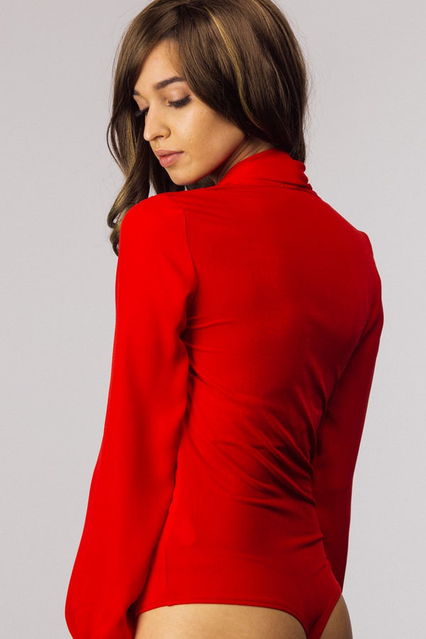 Totally in Love Bodysuit in Red - Downtown Chic Online