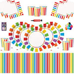 Rainbow Party Kids Birthday Decoration-Rainbow Plates Cups Napkins Table Covers Free 25 Balloons Candles Balloon Pump-16 Guests