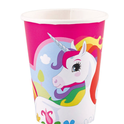 Rainbow Unicorn Kids Birthday Party Paper Cup - Pack of 8