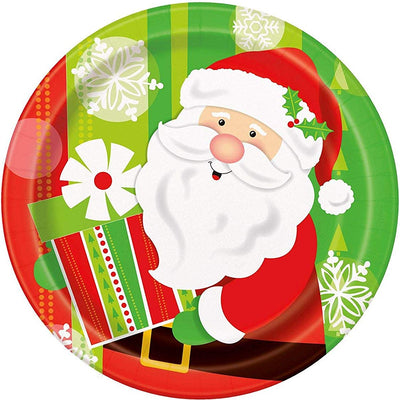 Santa Christmas kids Party Paper Plates-Pack of 8