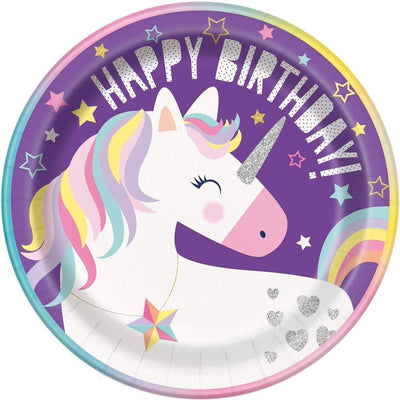 Unicorn Birthday Party Paper Plates -Pack of 8