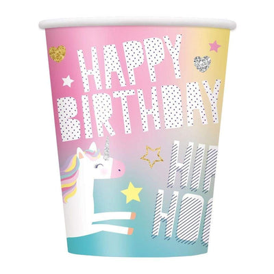 Unicorn Birthday Party Paper Cups 9oz -Pack of 8