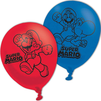 "Super Mario Bros Party kids 4 Sided Latex Balloons 11""/27.5cm"