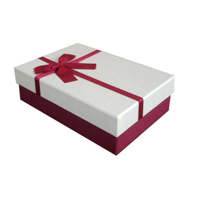 Luxury Presentation Burgundy coloured Bow Gift Box made using strong and rigid cardboard material