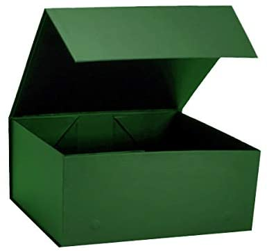 Green Colour Matt laminated High quality strong and rigid cardboard boxes. Have a magnetic closure for securing your gift. Easy assemble box and Available as flat pack. Box size 160 deep x 200 width x 80 height (mm)