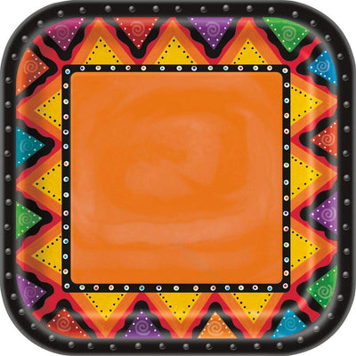 "New Mexican Fiesta Square Plates 9""- Pack of 8"