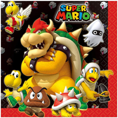 Super Mario Bros Kids Party Luncheon 33cms Napkins