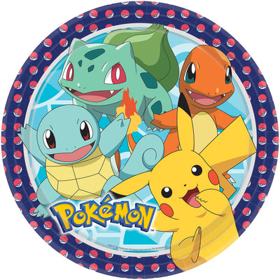 Pokemon Kids Birthday Party Paper Plate (23cm) - Pack of 8