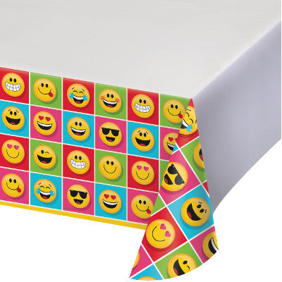 Show Your Emojians Party Plastic Tablecover-2.13m x 1.37m