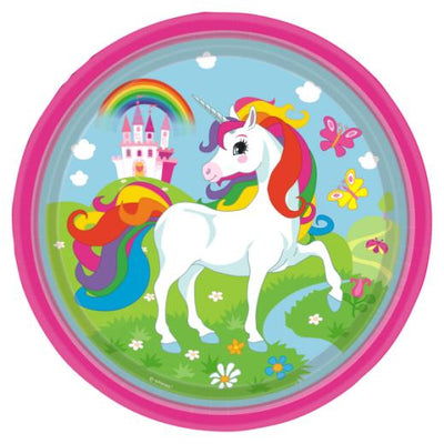 Rainbow Unicorn Kids Birthday Party Paper Plate (23cm) - Pack of 8