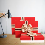 set of 3 strong gift box made of hard cardboard with red lid with two tone ribbon and brown bow
