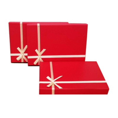 Set of 3 Red Rigid Cardboard Large Letter Size Gift Box Designed with cream ribbon bow