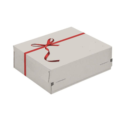 Easy assemble Small Parcel Size Red Ribbon Printed Matte White FSC certified Cardboard Gift Box- 10 Boxes