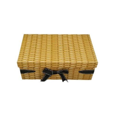 Set of 3 Wicker Effect Small Cardboard Gift Box