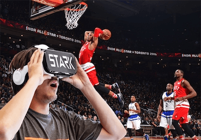 person wearing stark retina vr headset watching live sport event