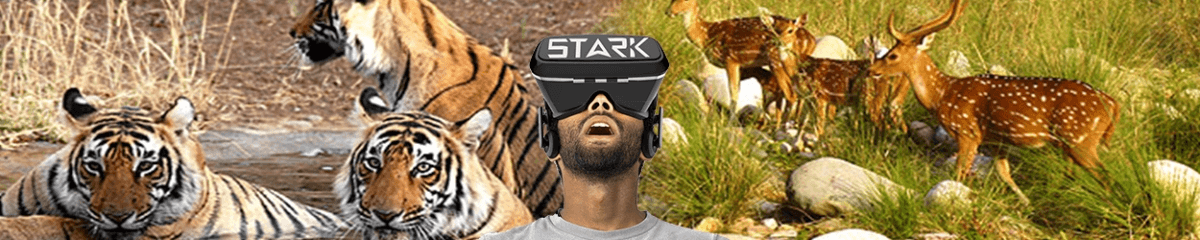 person wearing vr headset in jungle