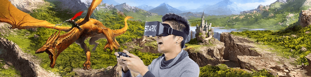 person gaming with cypher remote with the Stark Retina VR Headset