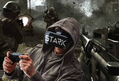 person playing shooting game with the Optic Virtual Reality Headset