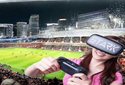 person playing sport game using Stark vr accessory with the Optic VR Glasses