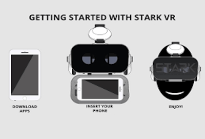 person wearing high quality stark vr headset in space