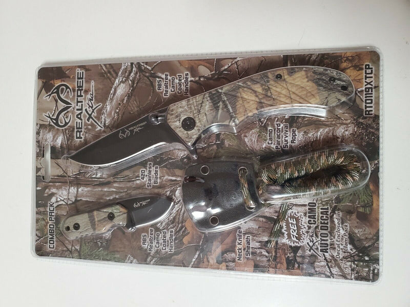 Realtree Xtra EDC Folding Knife and Neck Sheath with Survival Paracord Combo