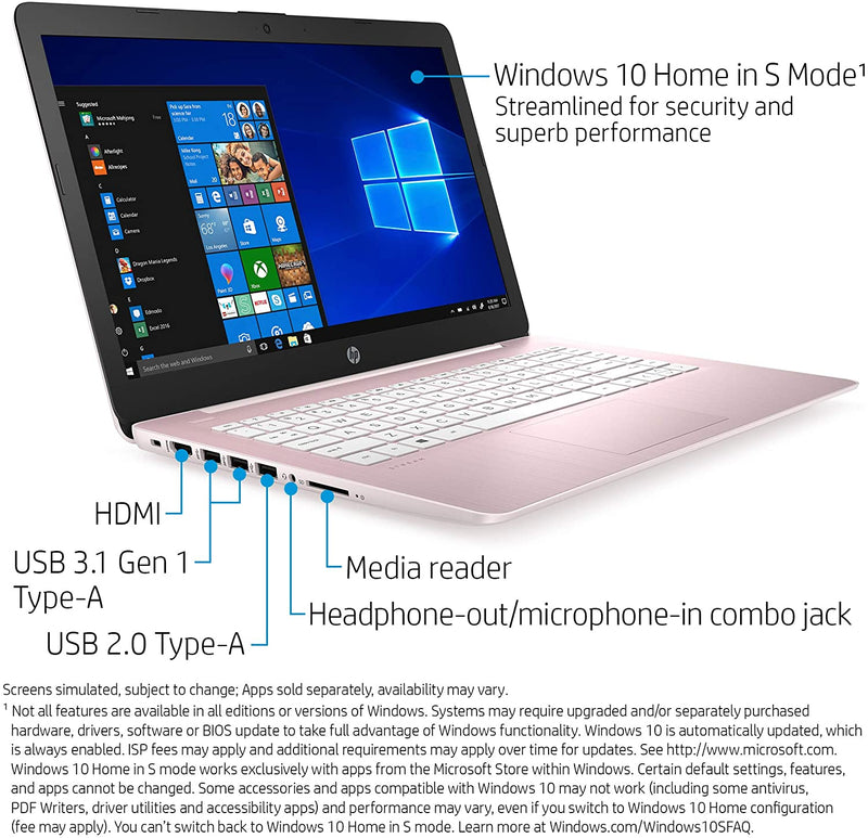 "HP Stream 14"" Laptop A4-9120E 4 32 GB eMMC Rose Pink 14-ds0040nr"