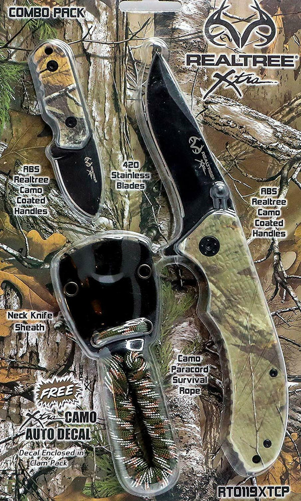 Realtree Xtra EDC Folding Knife and Neck Sheath with Survival Paracord Combo WHOLESALE LOT QTY 5000 BRAND NEW SEALED