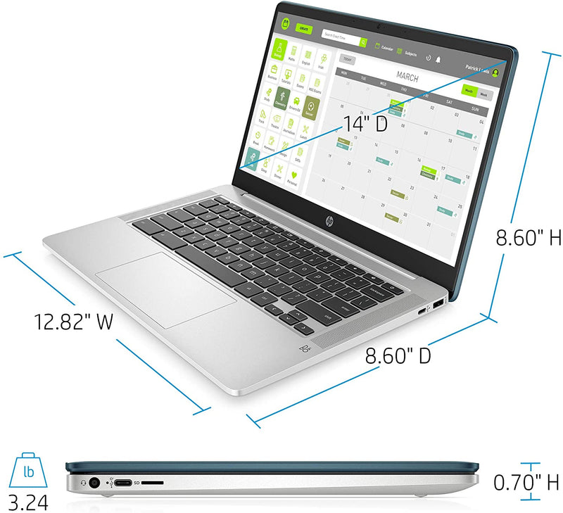 "HP Chromebook Laptop 14"" FHD N4000 4 32GB eMMC Forest Teal 14a-na0090nr"